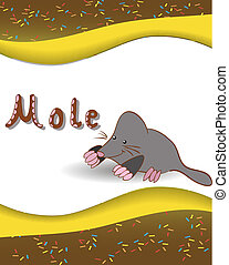 Alphabet letter M and mole