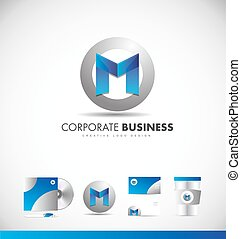 Alphabet letter M corporate logo