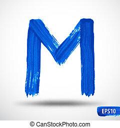 Alphabet Letter M. Watercolor Alphabet. Vector Background