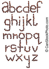 Alphabet letter made from coffee beans. Isolated on white background.