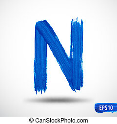 Alphabet Letter N. Watercolor Alphabet. Vector Background