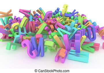 Alphabet, letter of ABC. Good for web page, wallpaper, graphic design, catalog, texture or background. Kindergarten, mess, learn & stack.