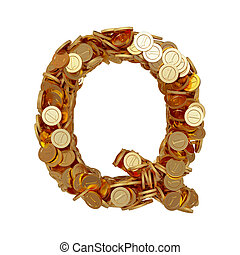 Alphabet letter Q with golden coins isolated on white background