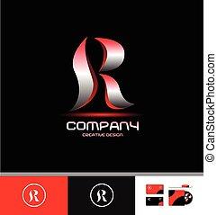 Alphabet letter R silver red logo