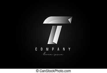 alphabet letter T logo icon in in grey silver color. Creative design for business and company with 3d styling