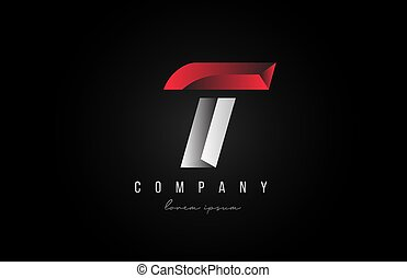 alphabet letter T logo icon in in red grey silver color. Creative design for business and company with 3d styling