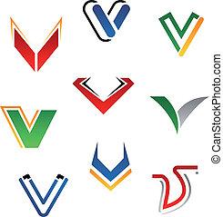 Set of alphabet symbols and elements of letter V