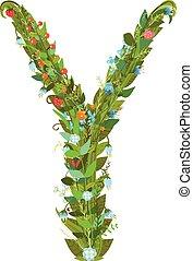 Alphabet letter Y elegant flower blooming botanical sign -...