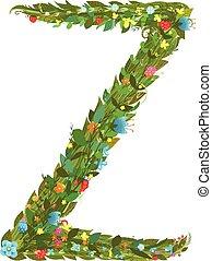 Alphabet letter Z elegant flower blooming botanical sign -...