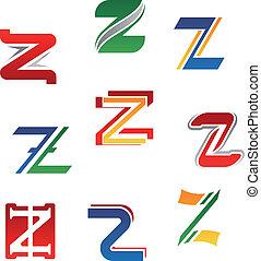 Set of alphabet symbols and elements of letter Z