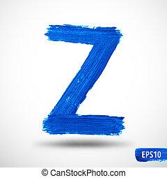 Alphabet Letter Z. Watercolor Alphabet. Vector Background