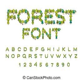 alphabet., lettera, natura, eco, albero, albero., foresta, font., lettere