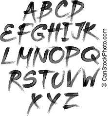 alphabet., letters., 써진다, 벡터, brush., 그어진, 손