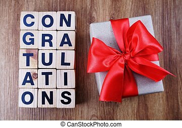 alphabet letters congratulation with space copy on wooden background