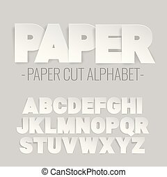 alphabet letters cut out of paper. Paper art style. Vector...