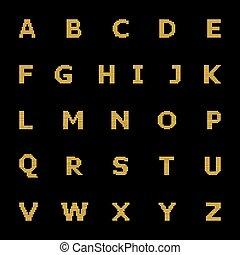 Alphabet letters digital diode, vector