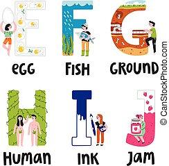 Alphabet letters e to j, vector illustrations set
