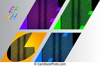 Alphabet letters E,F,G,H vector