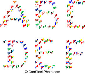 Alphabet letters font made of flags
