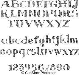 Alphabet letters font with cross-hatching - Alphabet letters...