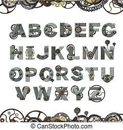 Alphabet - letters from rusty metal with machine gears and cogwheel