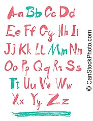 Alphabet letters lowercase. Vector alphabet. Hand drawn...