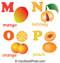 Alphabet letters M-P with fruits. - Illustrations of...