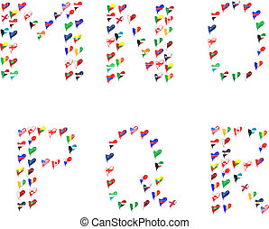 Alphabet letters made of flags in heart