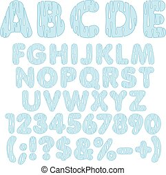 Alphabet, letters, numbers and signs from drops of water. Isolated vector objects.