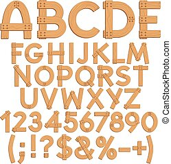 Alphabet, letters, numbers and signs from wooden boards. Isolated vector objects.