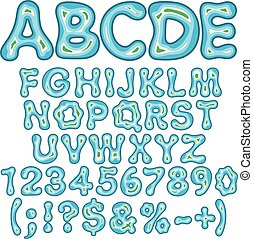 Alphabet, letters, numbers and signs in the form of an island in the sea. Isolated vector objects.