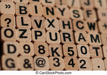 alphabet letters, numbers on wood cubes letter stamp