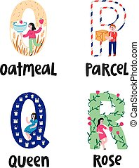 Alphabet letters o to r