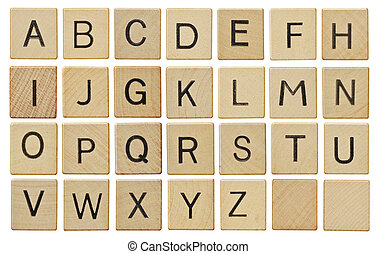 Alphabet letters on wooden scrabble pieces, isolated on white.