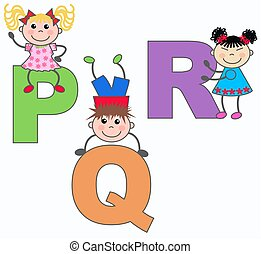 alphabet letters P Q R - kids playing with letters P Q R