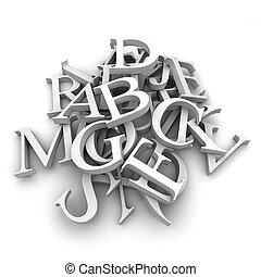 Alphabet letters poured in a heap - Latin letters poured...
