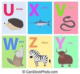 Alphabet Letters U, X, V, W, Z, Y Set with Animal