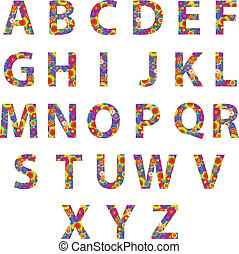 Alphabet Letters With Retro Circles