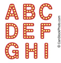 alphabet letters with retro lights, vector