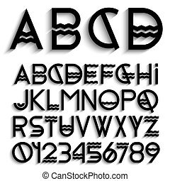 Alphabet letters with shadow and numbers
