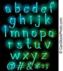 alphabet, lettres, étincelant