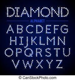 alphabet, lettres, diamants