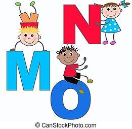 alphabet, lettres, m, o, n