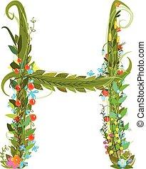 alphabet levél, h, finom, virág, virágzó, botanikai, aláír
