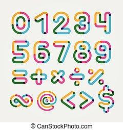 Alphabet line transparent color font style.
