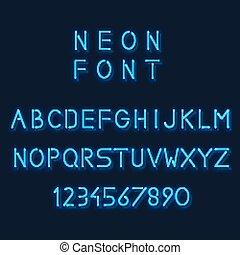 alphabet., lineal, number., luz, neón, sans-serif, vector, minimalistic, cartas, fuente