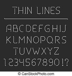 alphabet, linie, zahlen