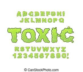 alphabet., liquide, abc., radiation, poison, typography., vert, font., toxique, lettres, acide