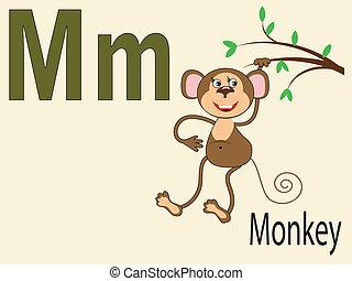 alphabet, m, animal