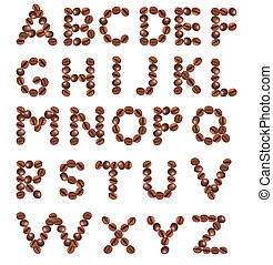 Alphabet made from coffee beans.
